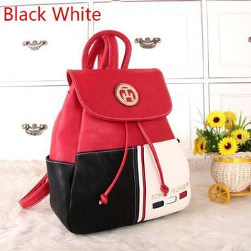"""Tommy Hilfiger"" Personality Women Casual Fashion Multicolor Backpack Women Double Shoulder Bag G"