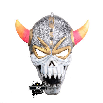 Terror Halloween Horn Skull Devil Mask Latex Ghost Masquerade for Adult Halloween Props Costume Fancy Dress Horror Party Mask