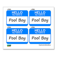 Pool Boy Hello My Name Is - Sheet of 4 Stickers