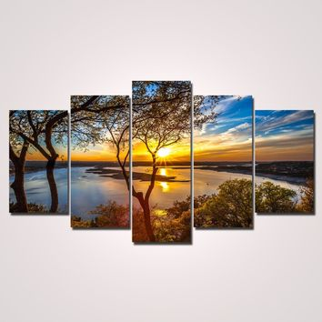 Unframed 5 Panel Wall Art Oil Painting On Canvas Printed Painting Pictures Decor painting large living room W0105