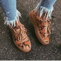 Fenty Rihanna by Puma Suede Creepers Brwon Orange Camo Shoes For Mens Womens One-nice™