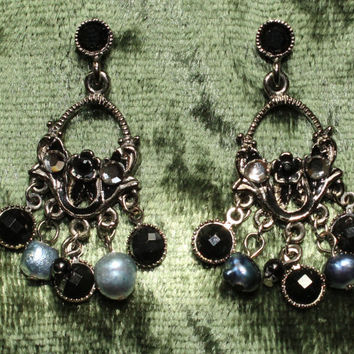 Vintage Boho Chandilier Earrings In Silver Tone.  Decorated in Black and Blue/Gray Stones