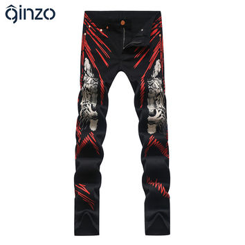 Men's fashion red lines tiger print jeans Colored drawing slim stretch black denim pants Long trousers