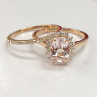Morganite Wedding Ring Set!Diamond Engagement Ring 14K Rose Gold,6x8mm Oval Cut Pink Morganite Gemstone,Flower Floral Stacking Matching Band