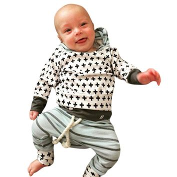 Infant Baby Boys Girls Striped Clothes Hoodie Tops T-shirt+Cotton Pants 2pcs suit newborn baby boys girls clothing sets