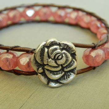 Leather wrap bracelet, pink czech glass, rose button, bohemian, stack bracelet
