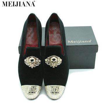 MeiJiaNa Brand Men Shoes Loafers  Moccasins Slip-on Casual Business Shoes Skull metal buckle