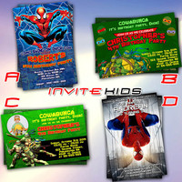 Spiderman vs Teenage Mutant Ninja Turtles - Invitation Card - Birthday Party Kids - InviteKids