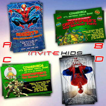Spiderman Vs Teenage Mutant Ninja Turtles Invitation Card Birthday Party Kids Invitekids