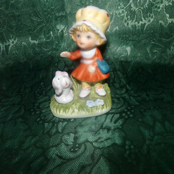 Vintage Porcelain Bisque Homco Girl with Dog Figurine #1430, home decor, girls room decor, gift for her, business  decor