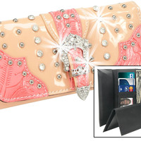 Rhinestone and Stud Accented Patent Checkbook Wallet In Coral