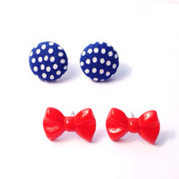 """Handmade """"Nautical Nellie"""" Fabric Button and Red Bow Nautical Themed Earring Set"""
