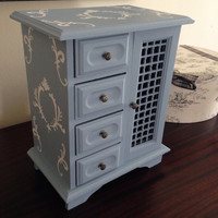 Vintage Wood Jewelry Box Hand Painted And Stenciled in French Blue