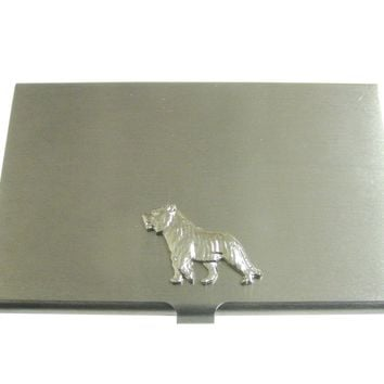 Silver Toned Tiger Pendant Business Card Holder