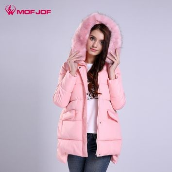 MOFJOF 2017 Faux Fur Collar Detachable Winter Coat Women Jacket Coats For Women's Parka Pregnant woman winter jacket
