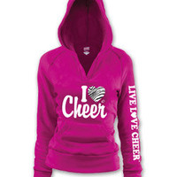 I heart (Love) Cheer Printed Fuschia V-Neck Pull Over Hoodie by Soffe