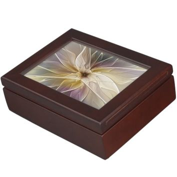 Floral Fantasy Pattern Abstract Fractal Art Keepsake Box