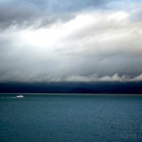 Ocean canvas, ocean wall art, stormy, moody, blue decor, boat canvas, fine art photography, large wall art, canvas gallery wrap, panoramic