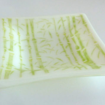 Fused Glass Bamboo Dish