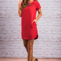 Calm and Collected Dress, Red