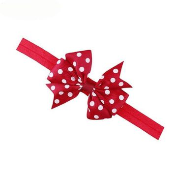 CUPUP9G Newly Design Lovely Children Kids's Elastic Hair Band Princess Little Girl Polka Dot Bowknot Hairband 160726 Drop Ship
