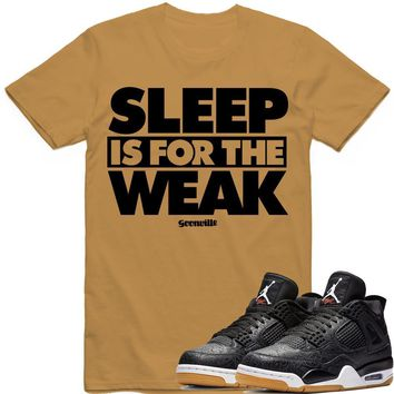 SLEEP WEAK Sneaker Tees Shirt - Jordan 4 Black Laser Gum
