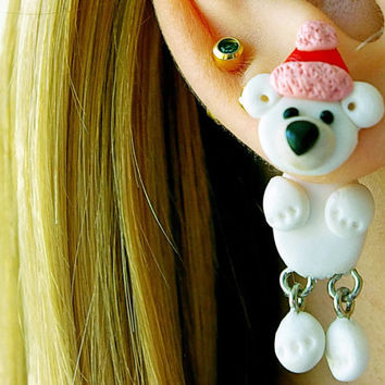 Christmas northern bear, fake gauge, Xmas plug, white two part earrings, child gift, front back , Unique faux gauge, unusual tunnels