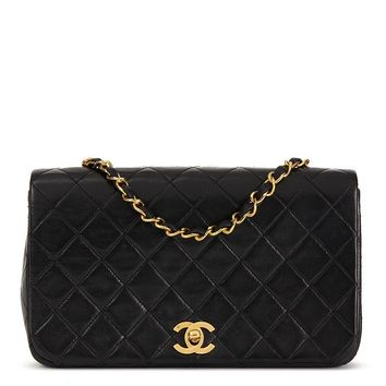 CHANEL BLACK QUILTED LAMBSKIN VINTAGE SMALL CLASSIC SINGLE FULL FLAP BAG HB1706