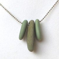 Green River Stone Trio Meditation Necklace Worry Stones