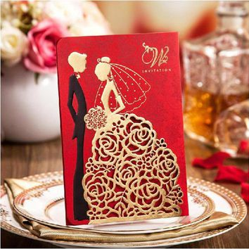 High Class Wedding Invitation Cards Elegant Laser Cut Gold Red Wedding Party Invitations +Personalized Printing+Envelope