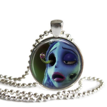 Corpse Bride Emily and Maggot Necklace