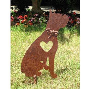 Boxer Dog Metal Garden Stake - Metal Yard Art - Metal Garden Art - Pet Memorial - 2