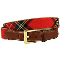 Royal Stewart Tartan Plaid Belt on Natural Canvas by Country Club Prep