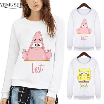 YEMUSEED 1Pcs Price Women Couple Best Friends Hoodies Lovers Unisex Harajuku Cartoon White Sweatshirt Moletom Kpop WMH100