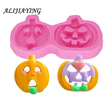1Pcs Silicone pumpkin Fondant Sugarcraft chocolate mould halloween Cake Decorating Tools Fimo Polymer Clay Resin D0280
