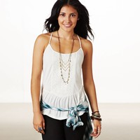 AE Embroidered Peplum Cami | American Eagle Outfitters