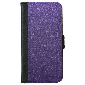 Cool Awesome Purple Glitter iPhone 6 Wallet Case