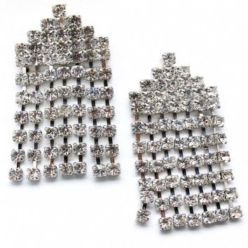 Dorothie's Fancy Cascading Imitation Diamond Chandelier Earrings