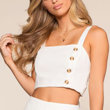 Spring Thing Crop Top - White