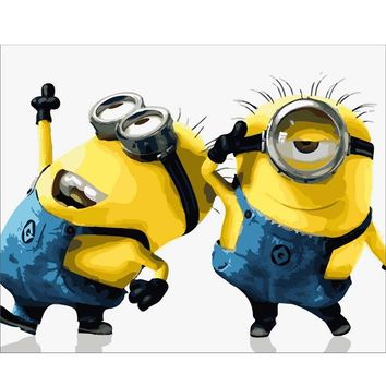 Two Cute Minions Oil Painting By Numbers DIY Digital Pictures Coloring By Number On Canvas for Children Room Wall Decoration