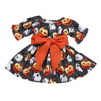 Girl Dress Toddler Infant Baby Girls Pumpkin Ghost Print Dresses Halloween Costume Girls Dresses 2018 Frocks#LSJ