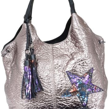 Large Metallic Star Studded Vegan Leather Tote Bag Handbag Purse