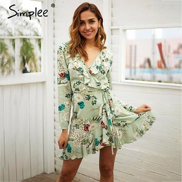 Simplee Ruffle print wrap dress women v neck mini dress long sleeve summer dress Robo femme streetwear beach vestidos 2018