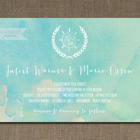 Beach Wedding Invitation Watercolor Shabby Chic Hand Drawn Rustic Blue Teal Aqua Ocean Turquoise Paint DIY Digital or Printed - Juliet Style