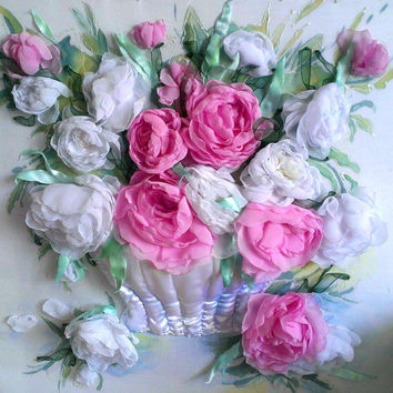 Еmbroidery ribbons, peonies picture, white and pink flowers, painting, peonies, white peonies, pink peonies. Made to order