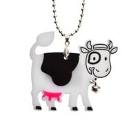 Happy Cow NecklacePlexiglass Kawaii NecklaceLasercut by bugga