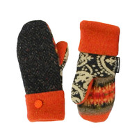 Gray and Orange Wool Mittens Recycled Sweater Mittens - Paisley Made in Wisconsin Sweaty Mitts Women's Mittens Gift Fleece Lined Fair Isle