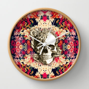 You are not here Day of the Dead Rose Skull. Wall Clock by Kristy Patterson Design