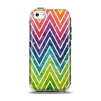 The Grunge Vibrant Green and Neon Chevron Pattern Apple iPhone 5c Otterbox Symmetry Case Skin Set