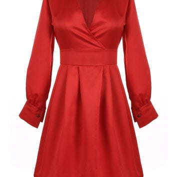Red V-neck Long-Sleeve Leather Midi Dress